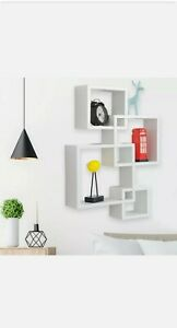 4 Sets Floating Cube Wall Shelves Intersecting Photo Frame Bookshelf Pre-Owned