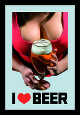 I love Beer Pin Up Girl Motiv 2 Nostalgie Barspiegel Spiegel Bar Mirror 22x32 cm