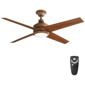HDC Mercer 52 in. LED Indoor Distressed Koa Ceiling Fan with Light & Remote