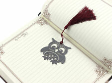 Silver Owl With Tassel Bookmarks Note Pad Funny Book Marker Memo Stationery Tags