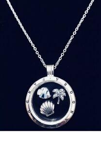 Authentic Pandora Medium Locket Necklace W/ Tropical Paradise Petites #590529-60