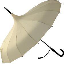 Boutique Classic Pagoda Beige Walking Length Stick Umbrella Wedding Parasol Gift