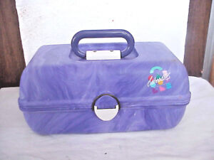 CABOODLES MAKE-UP TRUNK CARRYING CASE MARBLED PURPLE WITH MIRRO 8 X 12 X 6 TALL