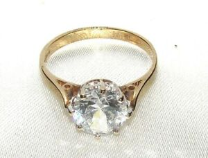 DAZZLING SECONDHAND 9ct YELLOW GOLD GEM SET SOLITAIRE  RING SIZE K
