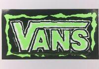 NOS Vintage Vans Logo Skateboard Sticker BMX Surf Original 1990 Neon Green Error