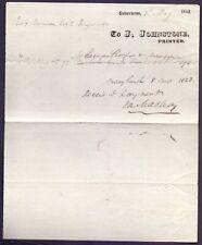 Receipted Bill Head,J Johnstone Printer Inverness  1822 (RB 1)