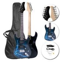 New Black & Dark Blue Beginner Practice Right-Handed Electric Guitar Set