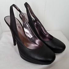 Kathy Van Zeeland black leather Heels Sasha strap back womens size 8.5 M