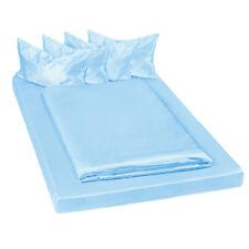 Parure de lit 100% satin polyester housse de couette 200x150 taie oreiller bleu