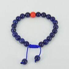 Lapis Lazuli Wrist Mala (Bracelet) with Coral Spacer