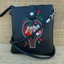 Black Owl small Cross body Bag with Smart Phone Spectacle Holder Long Strap