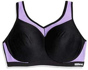 Glamorise Womens Full Figure High Impact Sports Bra 36H Purple Black