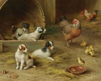 Home Living Room Wall Decor puppies and chickens Oil Painting Printed On Canvas