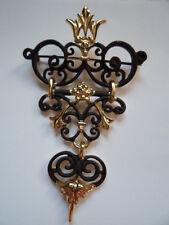 Vintage Signed AJC Goldtone/Black Art Nouveau Dangler Brooch/Pin