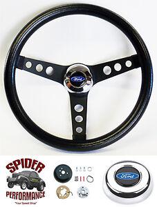 "1961-1963 Thunderbird steering wheel BLUE OVAL 13 1/2"" CLASSIC BLACK"