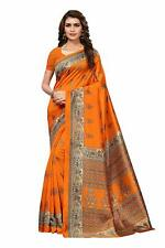 Indian Women's Mysore Art Silk Saree with Blouse Piece With Free Shipping