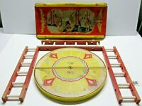 VINTAGE FISHER PRICE CIRCUS WAGON TOP, RING AND WOOD LADDERS / SEE PICS