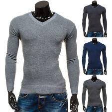 BOLF Herren Pullover Pulli Sweater Strickpullover Feinstrick V-Neck 5E5 Motiv