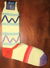 Corgi Mens Cotton Socks Size Large Pale Yellow Wavy Line Made in Wales Med Thick