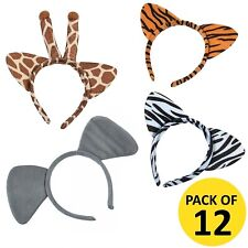 PLUSH ZOO ANIMAL HEADBANDS PACK OF 12 SAFARI JUNGLE PARTY GIFTS FAVOURS