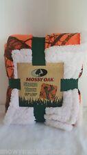 "New Mossy Oak Orange Camo Camoflauge Sherpa Throw Blanket 50"" x 60"" Hunting Soft"