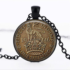 UK One Shilling Coin Black Glass Cabochon Necklace chain Pendant Wholesale