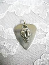 Solid Pewter Guitar Pick & Alien Visitor Head Double Pendant Adj Cord Necklace
