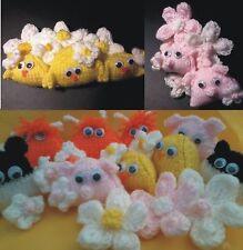 pram charm / nursery animals: chick, sheep, pig, cow, flowers EASY KNIT PATTERN