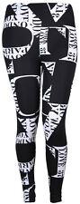 New Womens Love Print Leggings Ladies Black White Stretch Pants Plus Size 12-30