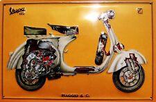Vespa 125 Quer Blechschild Schild 3D geprägt gewölbt Tin Sign 20 x 30 cm
