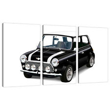 Triptych Triple 3 Canvas Black White Wall Art Picture Mini Cooper 3095