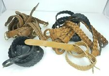 Huge Lot Of 10 Womens Belts Size 12 14 Brown Black Tan Woven 90s