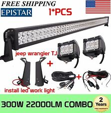 "52"" 300W+2X 4"" 18W LED Light Bar+Mount Brackets For Jeep Wrangler TJ+2X Wire Kit"