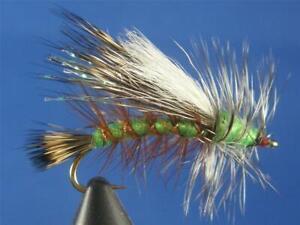 1 dozen Stimulators Green Crystal #8, Dry Flies, NR!