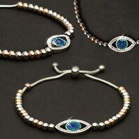 Edelstahl Armband mit Auge Anhänger Slider Armband Kügelchen blau Strasssteine