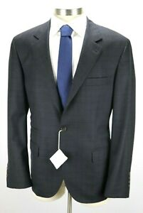 NWT $4295 BRUNELLO CUCINELLI Grey Black Layered Check Wool Suit 46 R (Fits 44 R)