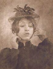 "Hendrickson Original Photo Sepia PORTRAIT OF MOURNING WIFE PUT ON A VEIL 11x14"""