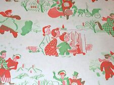 VTG CHRISTMAS WRAPPING PAPER GIFT WRAP 2 YARDS WW2 ERA CHILDREN FIREPLACE TREES