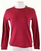 RALPH LAUREN Womens Top Long Sleeve Size 12 Medium Burgundy Cotton  AB05