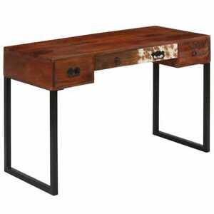 vidaXL Sheesham-Holz Massiv Schreibtisch Echtleder Computertisch Bürotisch