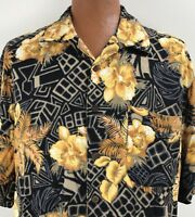 Caribbean Joe Hawaiian Aloha Shirt XL Yellow Orange Black Orchid Tapas Palm