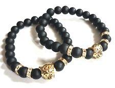 Partnerarmbänder schwarz Polarisperlen Leopardenkopf gold ♥ Geschenk ♥
