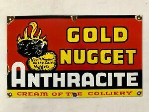 """Vintage Porcelain Gold Nugget Antracite Coal Mining 20""""x12"""" Enamel Sign"""