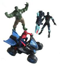 "Marvel Universe escala 3,75 ""cifras Lote, Spiderman Moto, Ironman + Hulk"