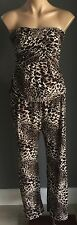 70's vibe Retro NAKED SAINT Animal Print Strapless Wide Leg Jumpsuit Size 10