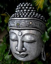 Amazing Silver Carved WOODEN BUDDHA HEAD Mask 30 cm New Style Handing Indonesia