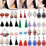 Women Bohemian Elegant Crystal Long Tassel Earrings Ear Stud Dangle Drop Jewelry
