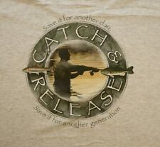 Go Fish Catch & Release Fishing T-shirt XL Large Gray Alore Sport Made in USA