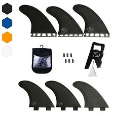 Thruster Surfboard Fins (3 Fins) - Perfect Flex with Honeycomb (FCS, Black)