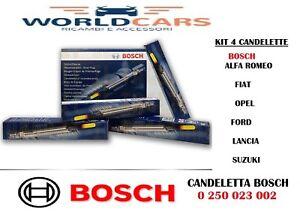 KIT 4 CANDELETTE BOSCH FIAT 1.3 MULTIJET MJT GRANDE PUNTO 500 PANDA 0250203002